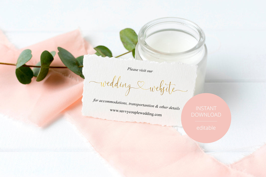 Wedding Website Card Insert Template, Website Insert Cards, Wedding Insert Cards, Visit our Website, Wedding Invitation Insert Gold -Heather