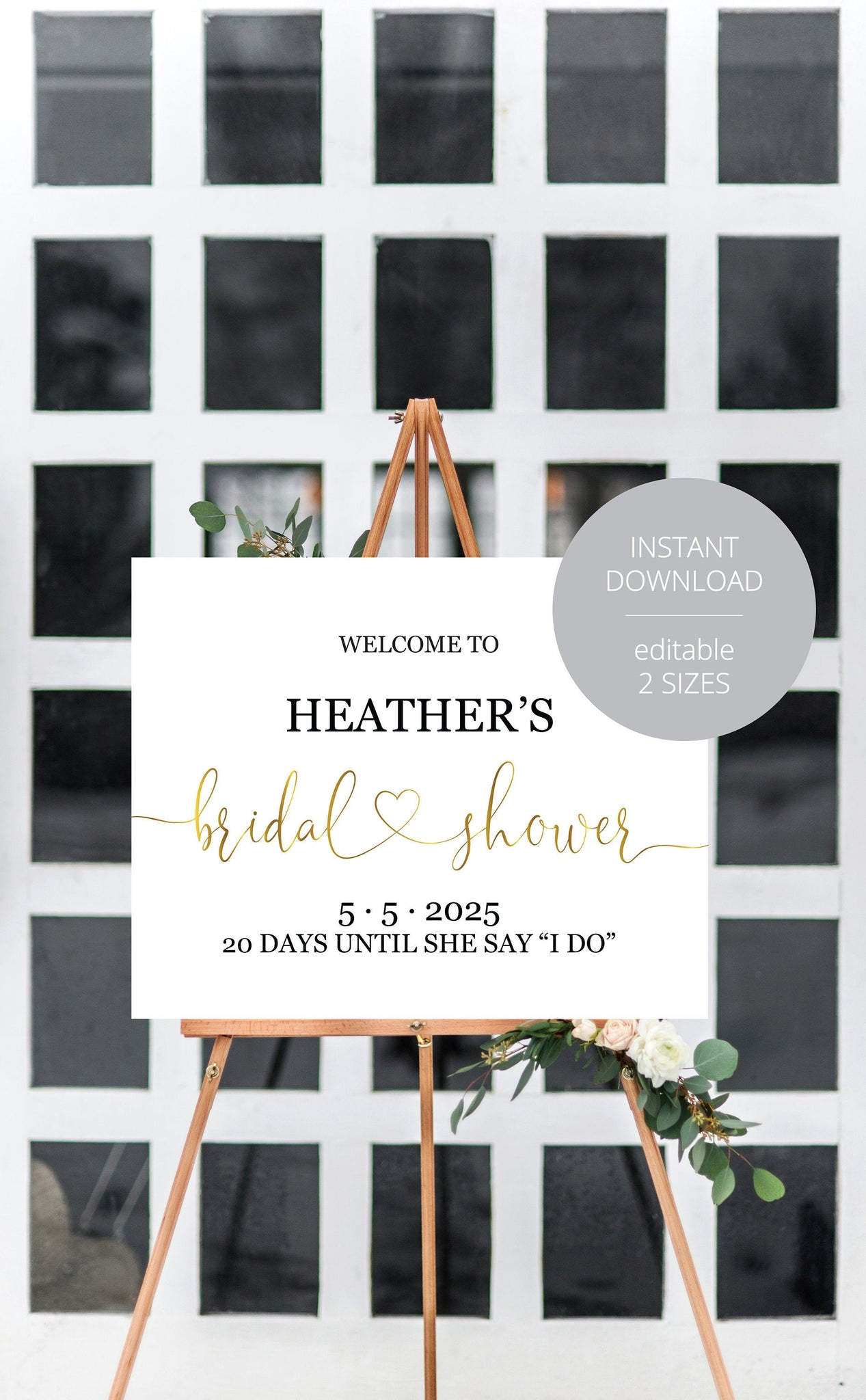 Bridal Shower Welcome Sign Printable Template Editable Instant Download Wedding Décor Gold - Heather
