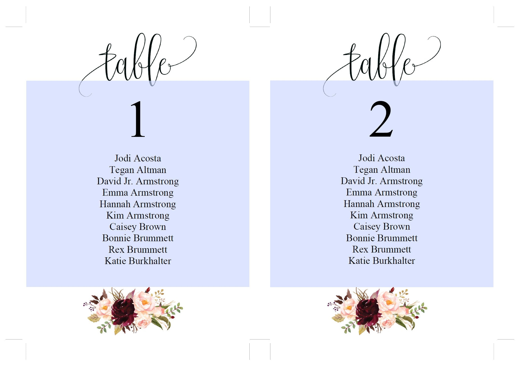 Wedding Seating Chart Template, Printable Floral Burgundy Seating Sign, Seating Cards, Editable Text INSTANT DOWNLOAD -KATHERINE