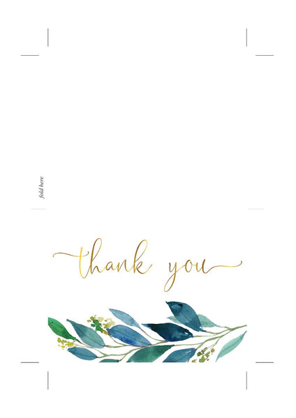 Wedding Thank You Card, Instant Download, Thank you Cards, Printable Thank You, Wedding Cards, Greenery, Dusty Blue, Gold - Elaine