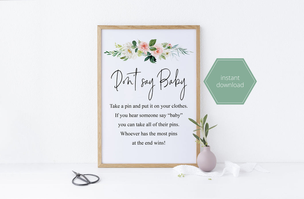 Printable Don't Say Baby Game, Baby Shower Game, Instant Download, Clothespin Game, Diaper Pin Game, Clothes Pin Game, Games,Activity - EV23
