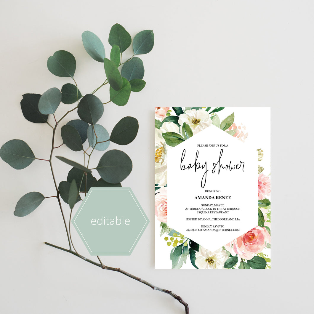Printable Geometric Baby Shower Invitation Template,Floral, Greenery, Baby Shower invite, Invitation, Blush Baby Shower Invites - EV23