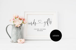 Cards and Gifts Sign Template,Wedding Sign,Reception Sign,Wedding Printable,Wedding Decor,Gift Table Sign, Rustic, Instant Download -Heather