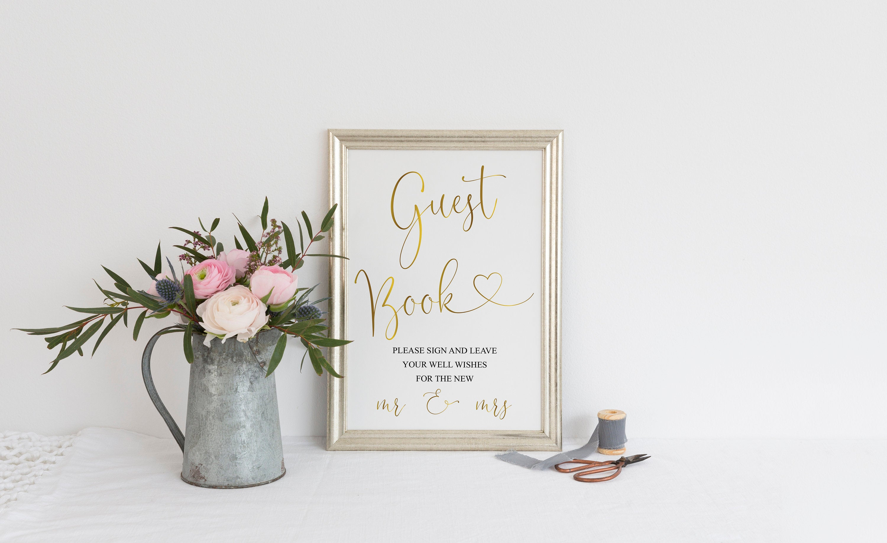 Wedding Guestbook Sign, Please Sign Our Guest Book, Gold,Instant Download,Wedding Signage,Wedding Decor, Printable Reception Sign -Heather