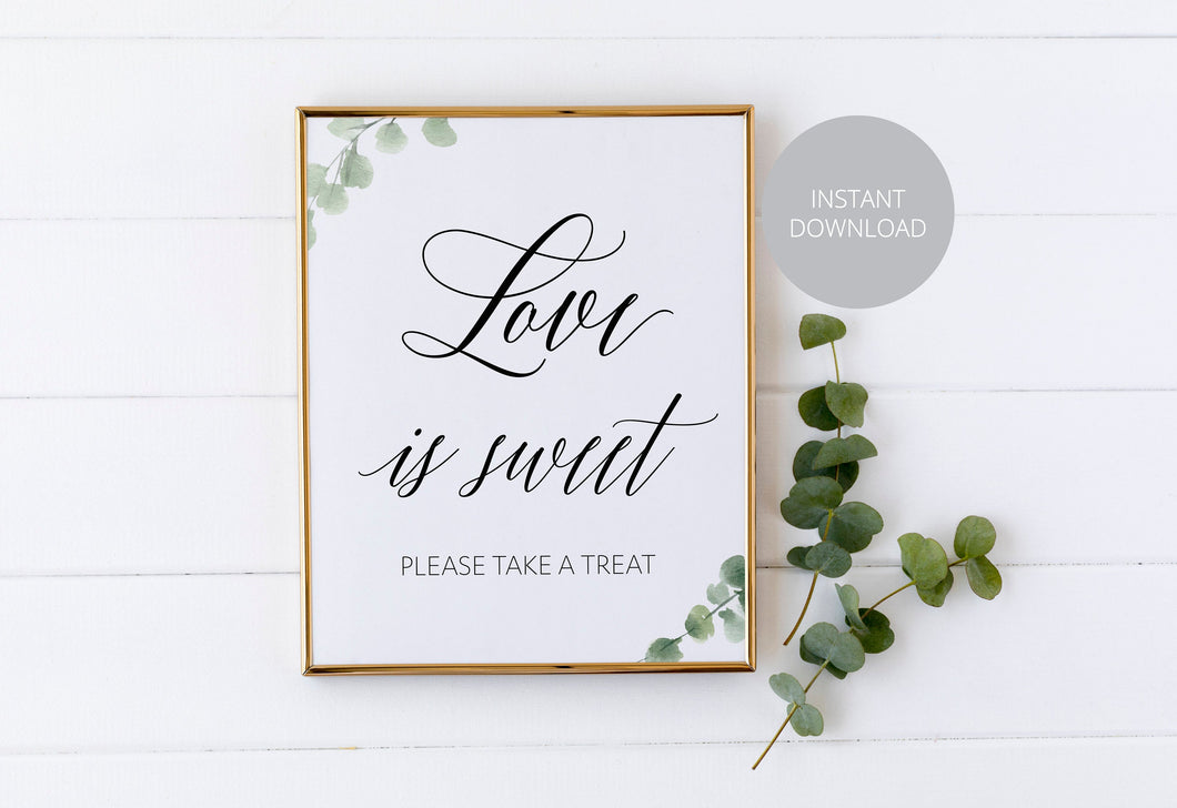 Love is Sweet Sign,Rustic Wedding Signs,Printable,Wedding,Take a treat Sign, Dessert Table, Candy Bar Sign, Wedding Decor, Instant Download