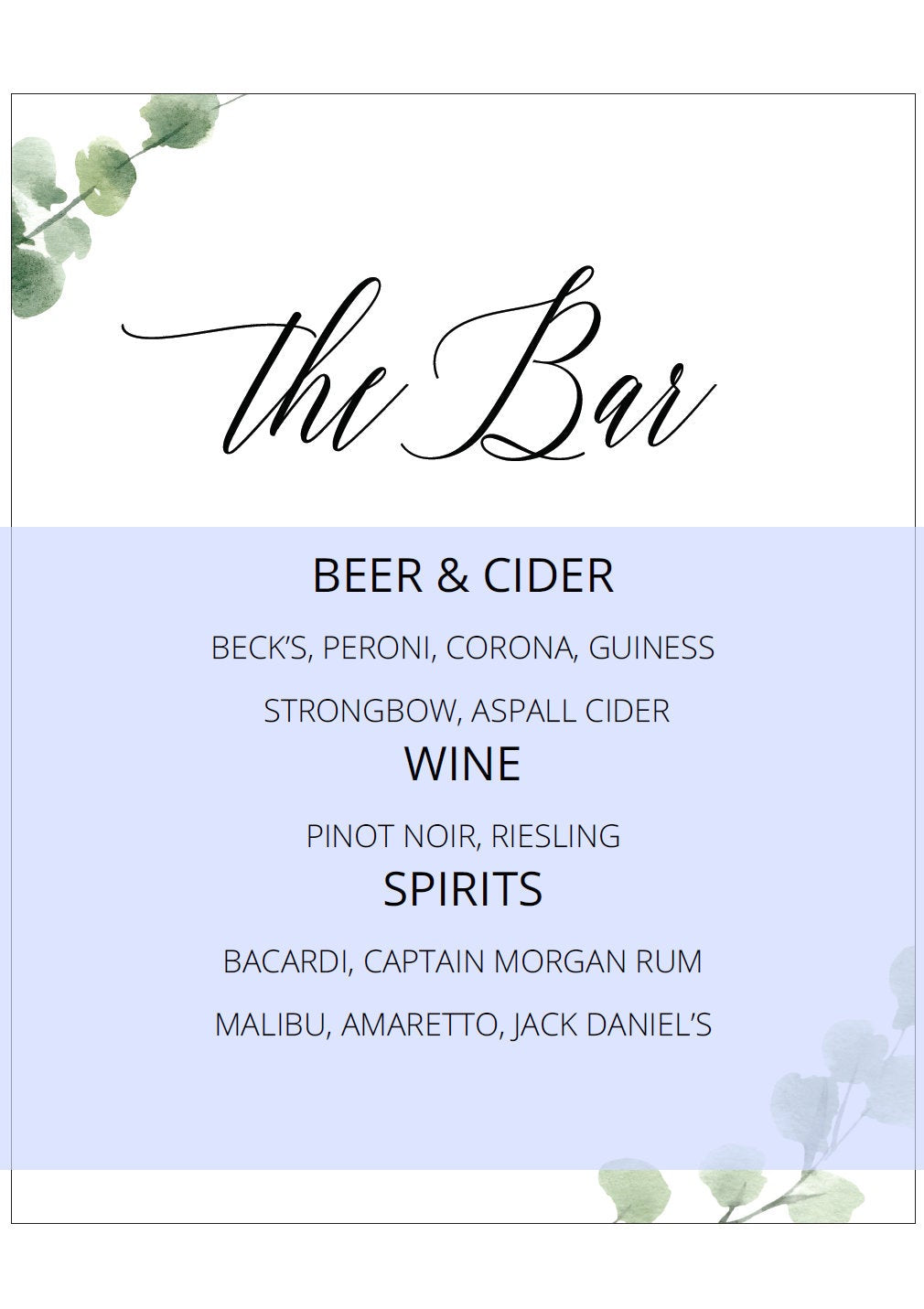 Wedding Bar Sign, Wedding Drink Sign, Bar Menu, DIY, Wedding signs, Signature Drinks, Drink, Template, Instant Download, Wedding Decor