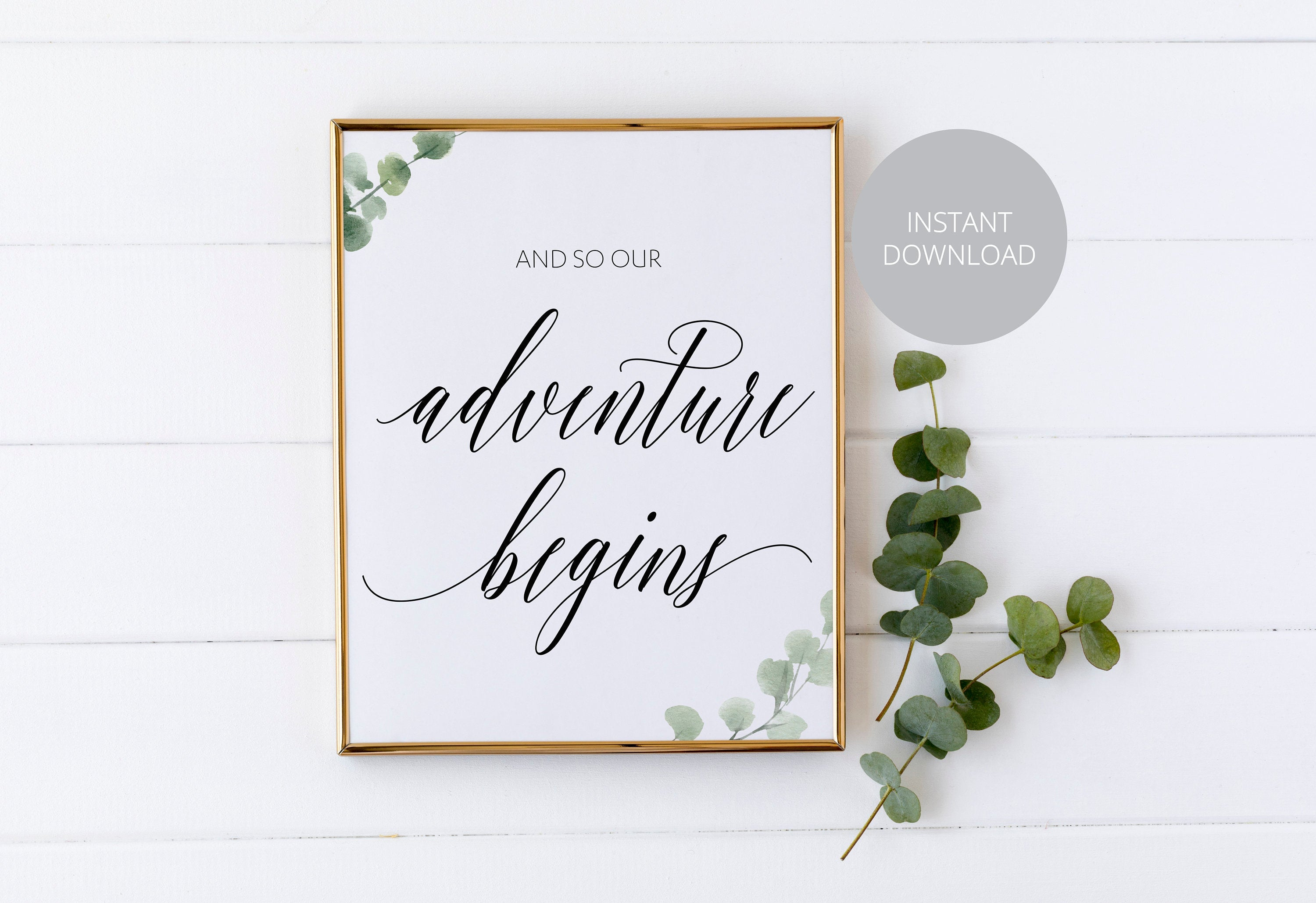 And so the Adventure Begins, Greatest Adventure, Wedding, Rustic Wedding, Greenery Wedding, Instant Download, Wedding Decor