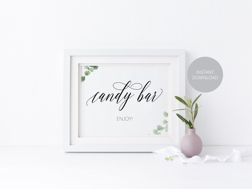 Candy Bar Sign, Candy Buffet Sign, Reception Sign, Candy Bar, Instant Download, Wedding Decor, Wedding Printable, Greenery, Rustic Wedding