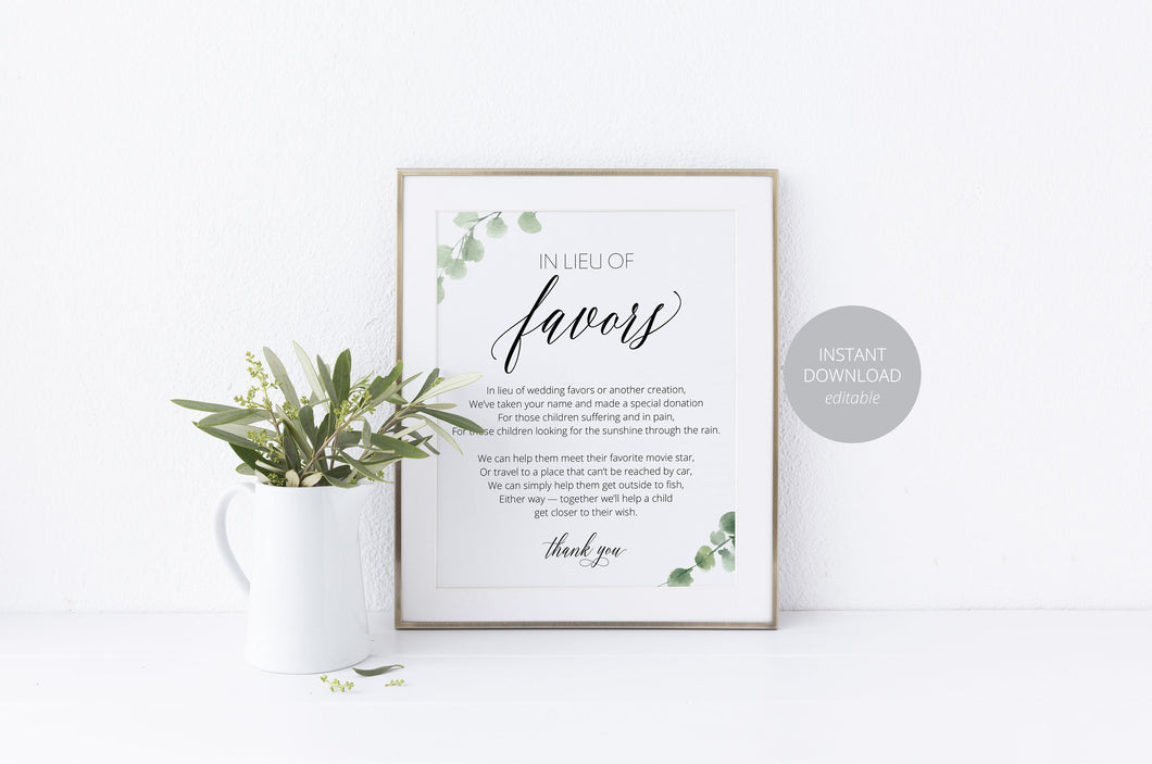 Printable Wedding, In lieu of favors sign,Wedding Favors template,Wedding Sign, Wedding Printable, Instant Download
