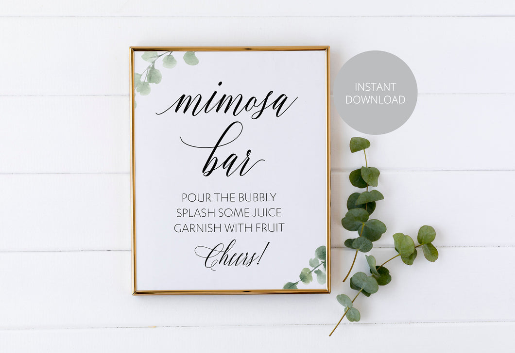 Mimosa Bar Sign, Pour the Bubbly, Reception Decor, Wedding Sign,Greenery Wedding, Wedding Printable, Wine Bar, Instant Download