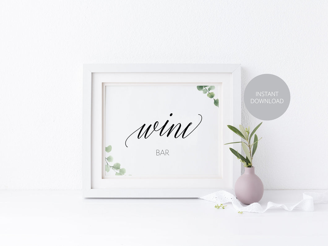 Wine Bar Sign, Reception Decor, Wedding Sign, Greenery Wedding, Wedding Printable, Wine Bar, Instant Download