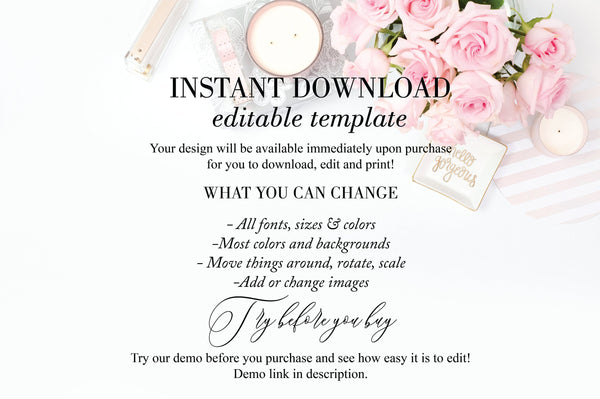 Wedding Program Fan Template Printable Ceremony Programs Editable Template Instant download Minimalist - Eileen