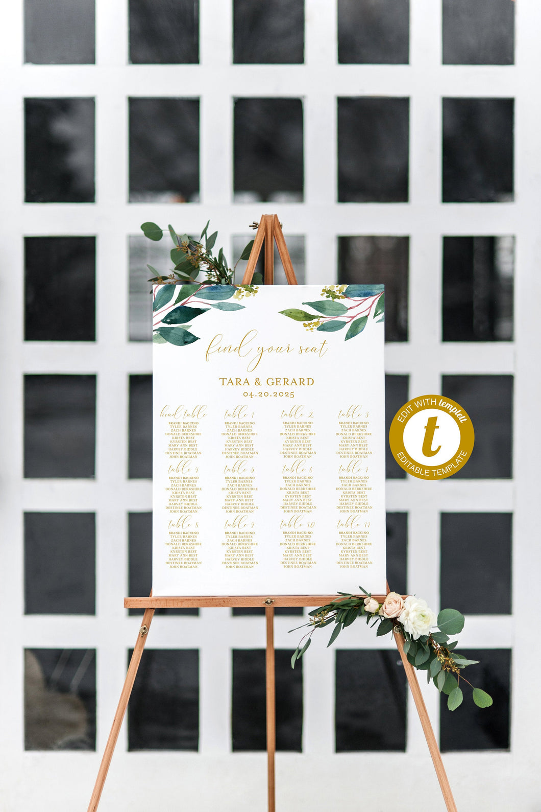 Wedding Seating Chart Template, Printable Greenery Seating Sign, Editable Text INSTANT DOWNLOAD - Tara
