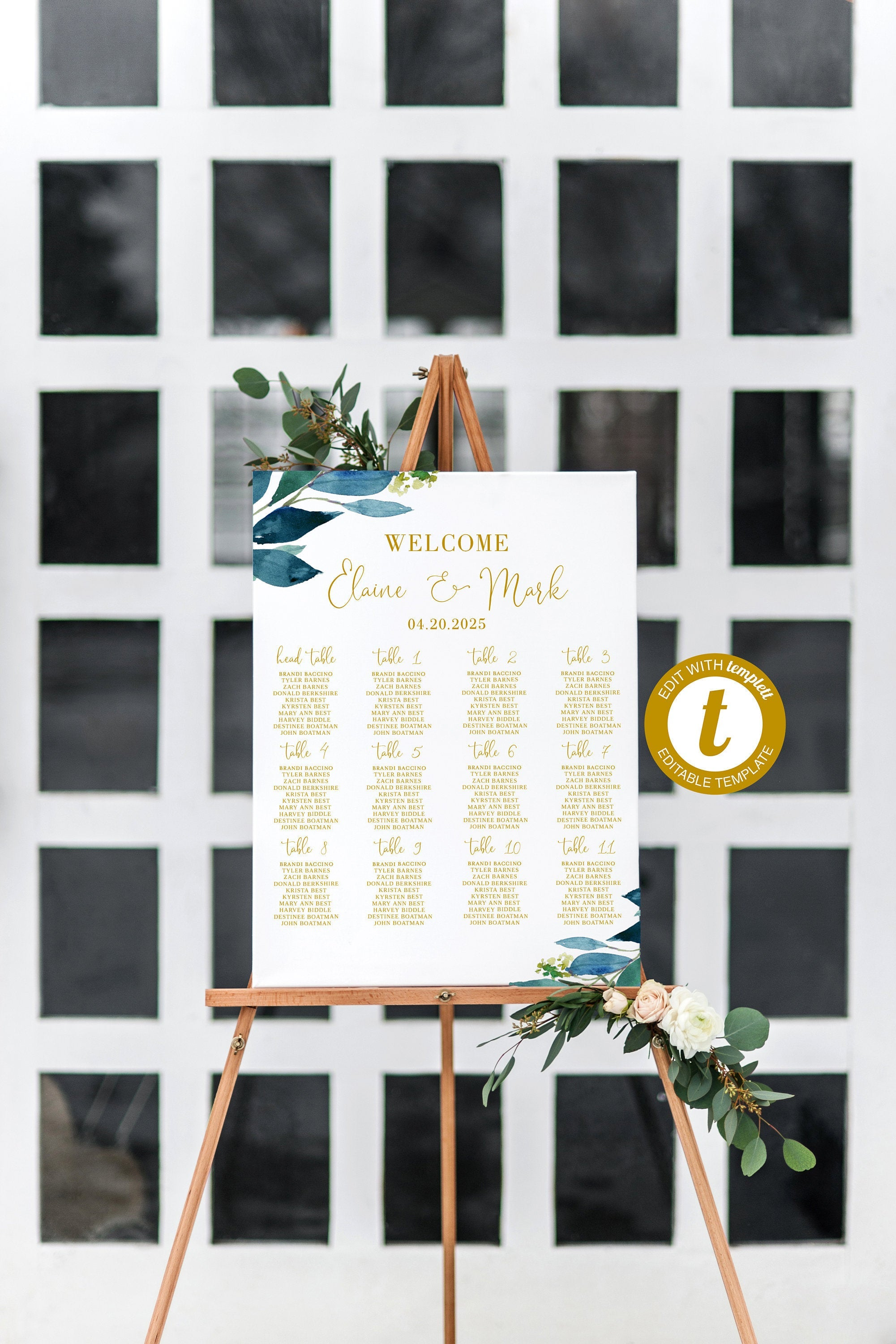 Wedding Seating Chart Template, Printable Dusty Blue Seating Sign, Editable Text INSTANT DOWNLOAD -Elaine