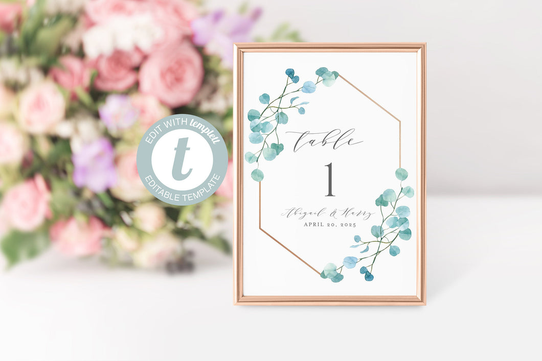 Greenery Wedding Table Number, Geometric Gold, Printable, Numbers Printable, Instant Download, Templett, Table Number Cards  -ABI