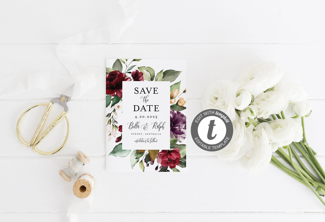 Printable Save-the-Date Template, Engagement Invite, 100% editable text, Greenery, Burgundy, Wedding Templett-Bella