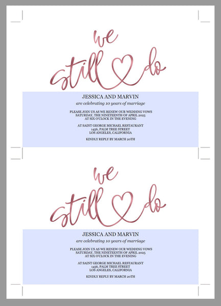 Rose Gold Vow Renewal Invitation, Wedding Anniversary, Vow Renewal Invite, Anniversary Party, Renew Vows, Wedding Invitation, Heart -JESSICA