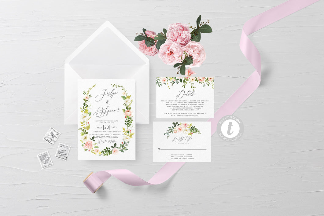 Printable Greenery Floral Wedding Invitation Set Editable Template, DIY Instant Download Invites, Invitation Suite 100% editable - JOSS