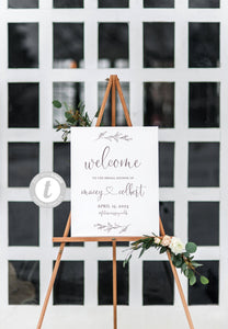 Bridal Shower Welcome Sign Printable Template Editable Instant Download Wedding Décor Heart - Macey