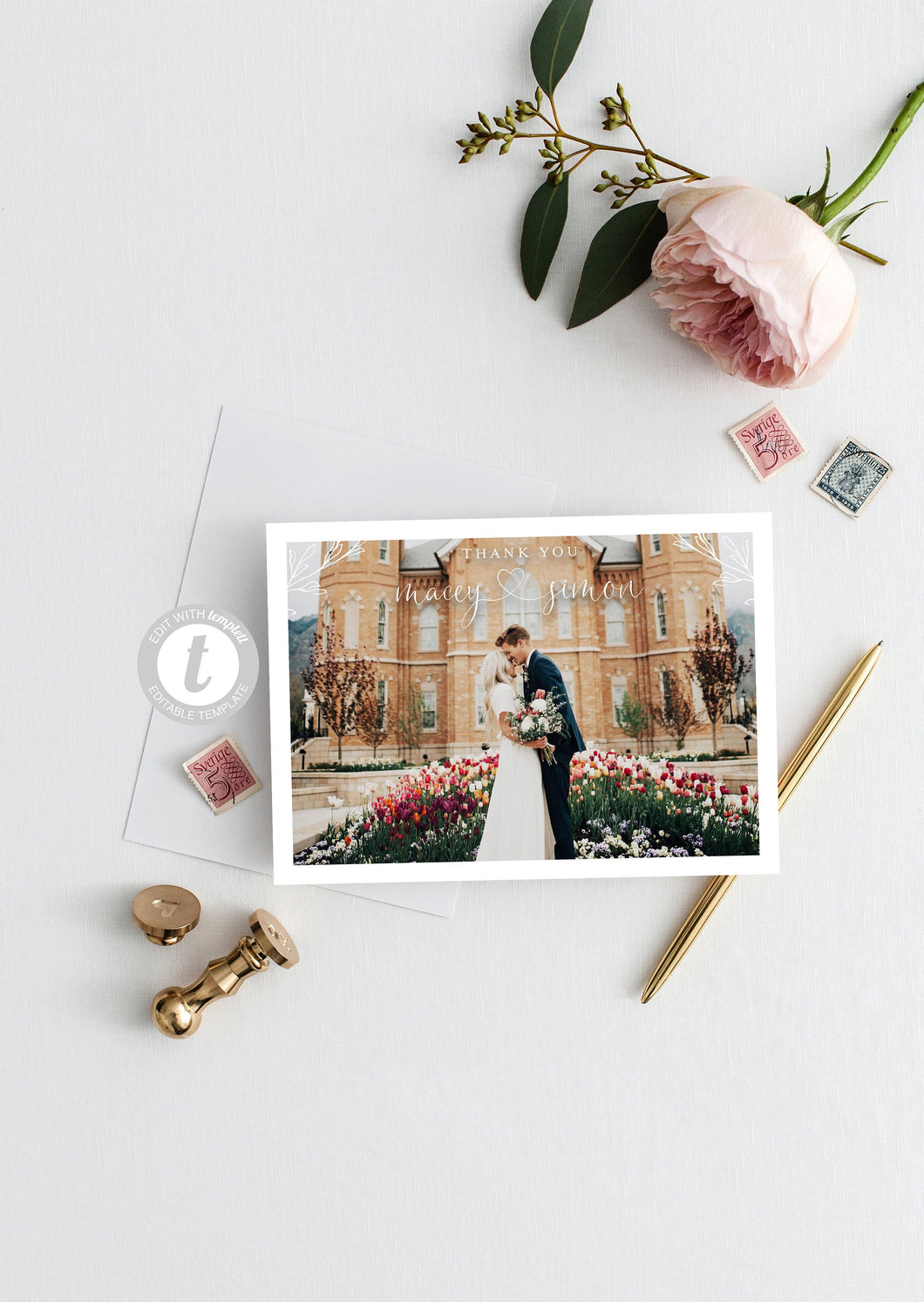 Elegant Wedding Photo Thank You Card, Instant Download, Thank you Cards, Printable Thank You, Wedding Cards, Calligraphy, Heart  - Macey