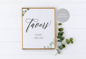 Printable Wedding Favor Sign,Wedding Favors template,Wedding Sign,Please Take One,Wedding Printable, Rustic, Instant Download