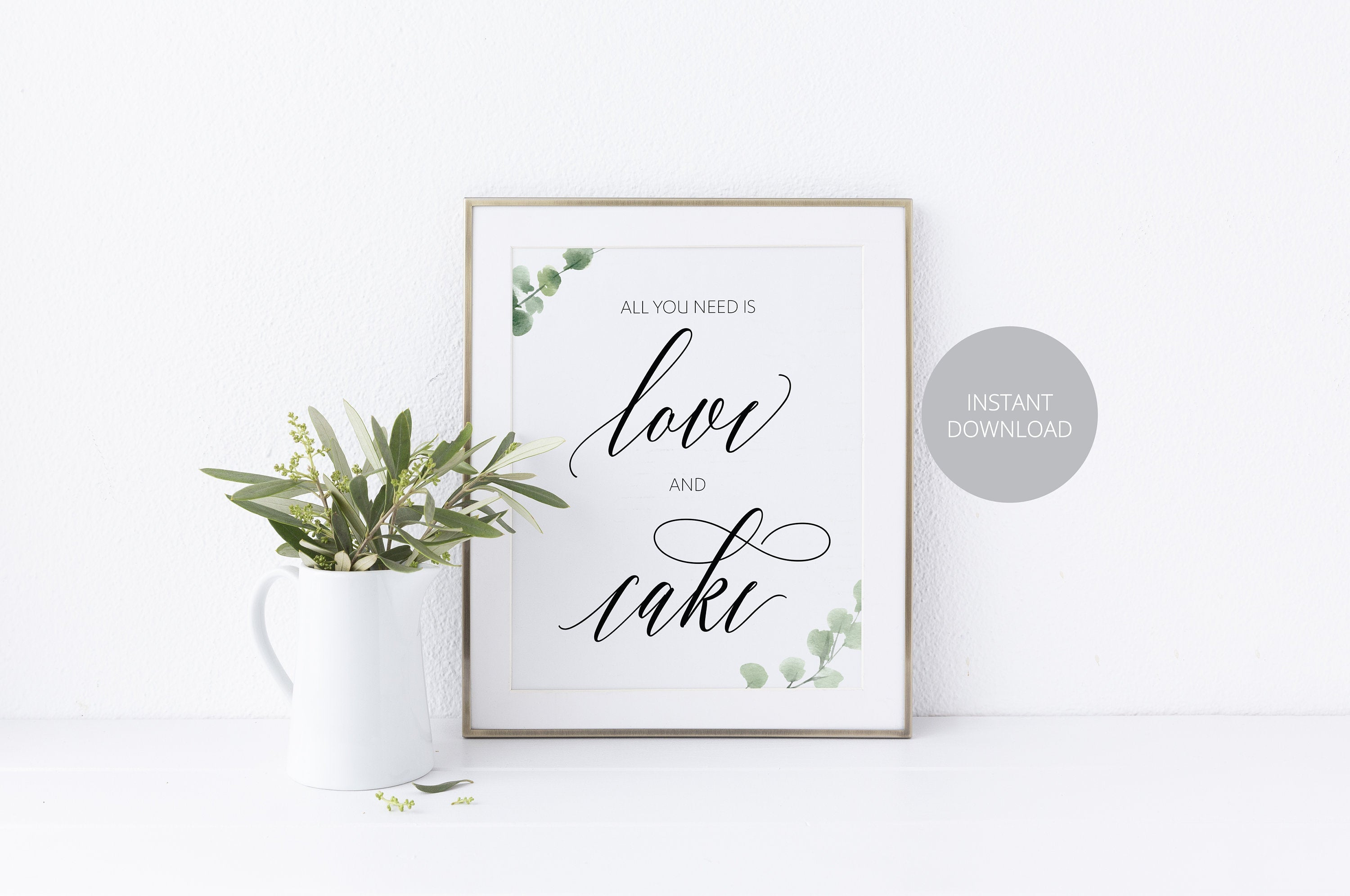 Love and Cake Sign, Cake Table Sign, Reception Decor, Wedding Sign,Greenery Wedding, Wedding Printable, Rustic Wedding, Instant Download