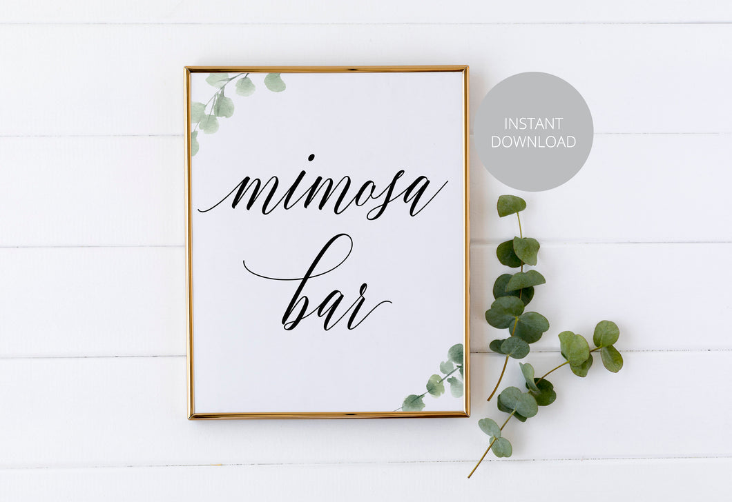 Mimosa Bar Sign, Pour the Bubbly, Reception Decor, Wedding Sign,Greenery Wedding, Wedding Printable, Mimosa Sign, Instant Download