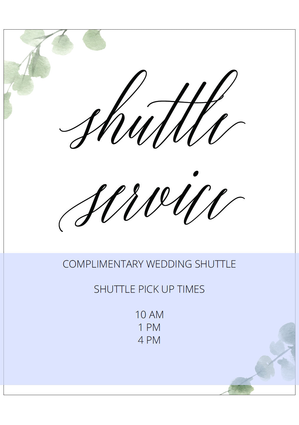 Printable Wedding Shuttle Service Sign, Editable Template, Shuttle Times, Wedding Sign, Wedding Printable, Instant Download