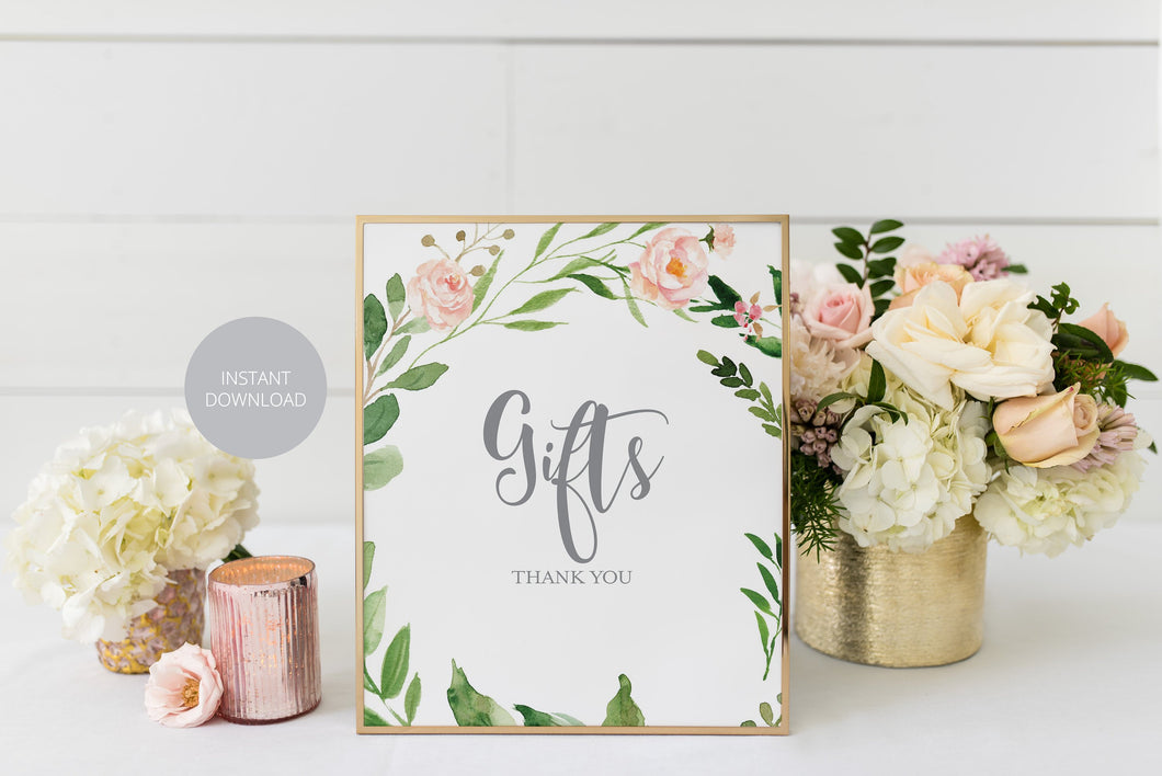 Baby Shower Gifts Sign, Printable Baby Shower Gifts Sign, Blush Greenery Floral, 8x10 #WB2