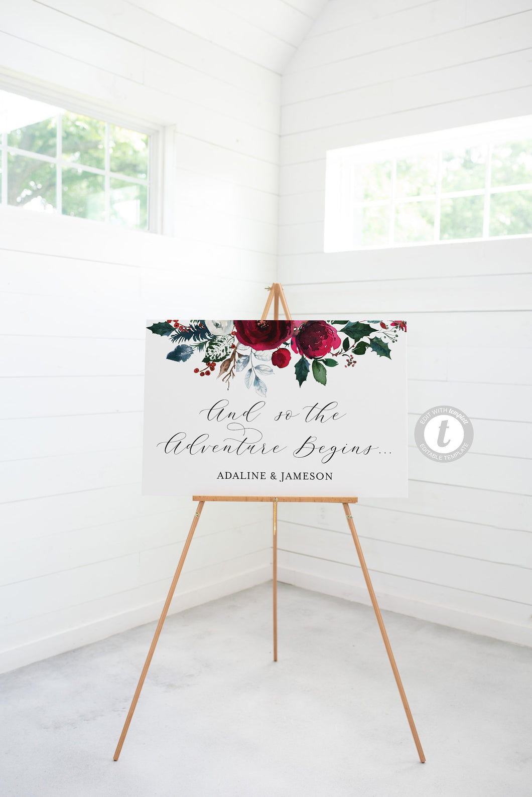 Burgundy Wedding Welcome Sign Template, Printable Christmas Editable Welcome Sign, Welcome Wedding Sign Instant Download  - ADA