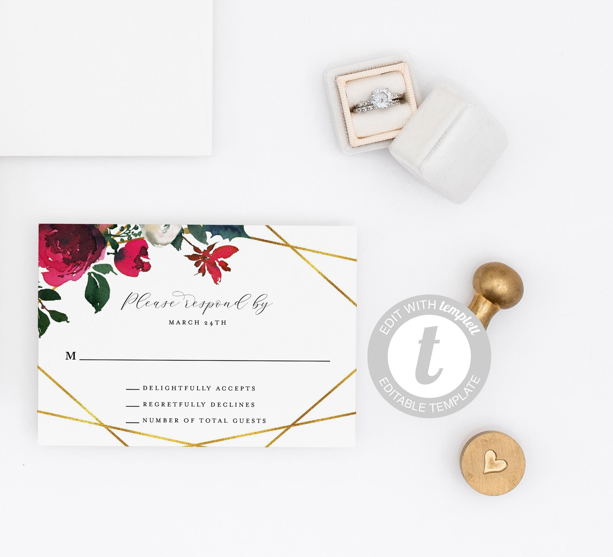 Burgundy Wedding RSVP Card Template, Christmas Winter RSVP cards, Response Card Geometric- Ada