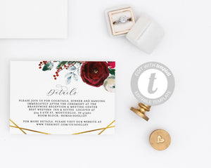 Wedding Details Card Template, Instant Download Christmas Information Card Wedding Info Card Winter Holiday Wedding Geometric - Ada
