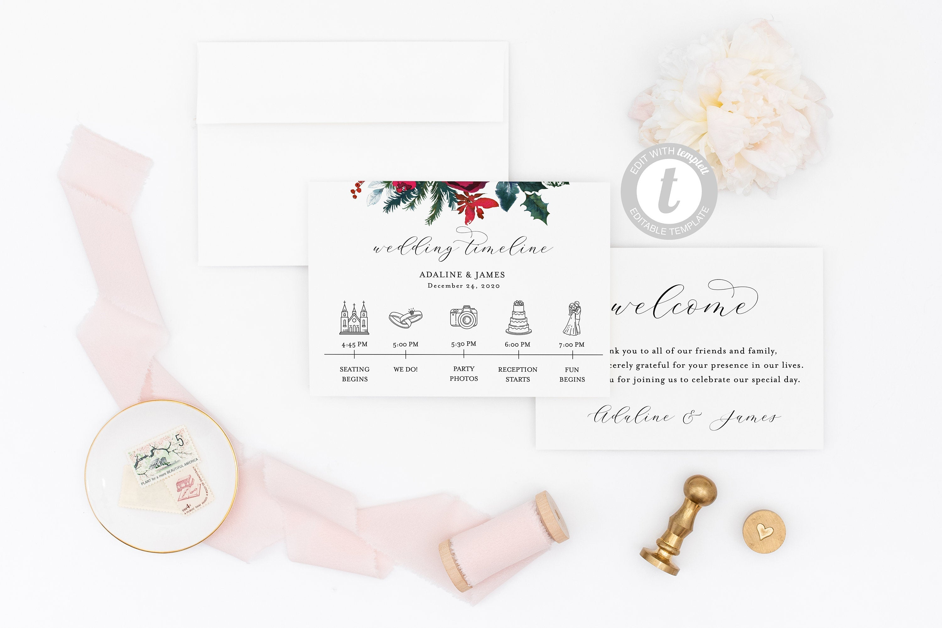 Printable Wedding Itinerary Template Card Timeline Welcome, 100% editable Templett, Christmas  - ADA