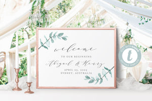Printable Greenery Wedding Welcome Sign Editable Template Instant Download - Abi