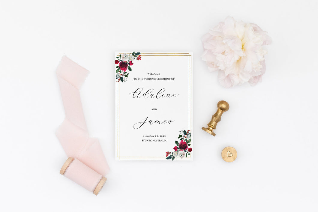 Folded Wedding Ceremony Program Card Editable Template Christmas Wedding Printable Instant Download Order of Service  - Ada