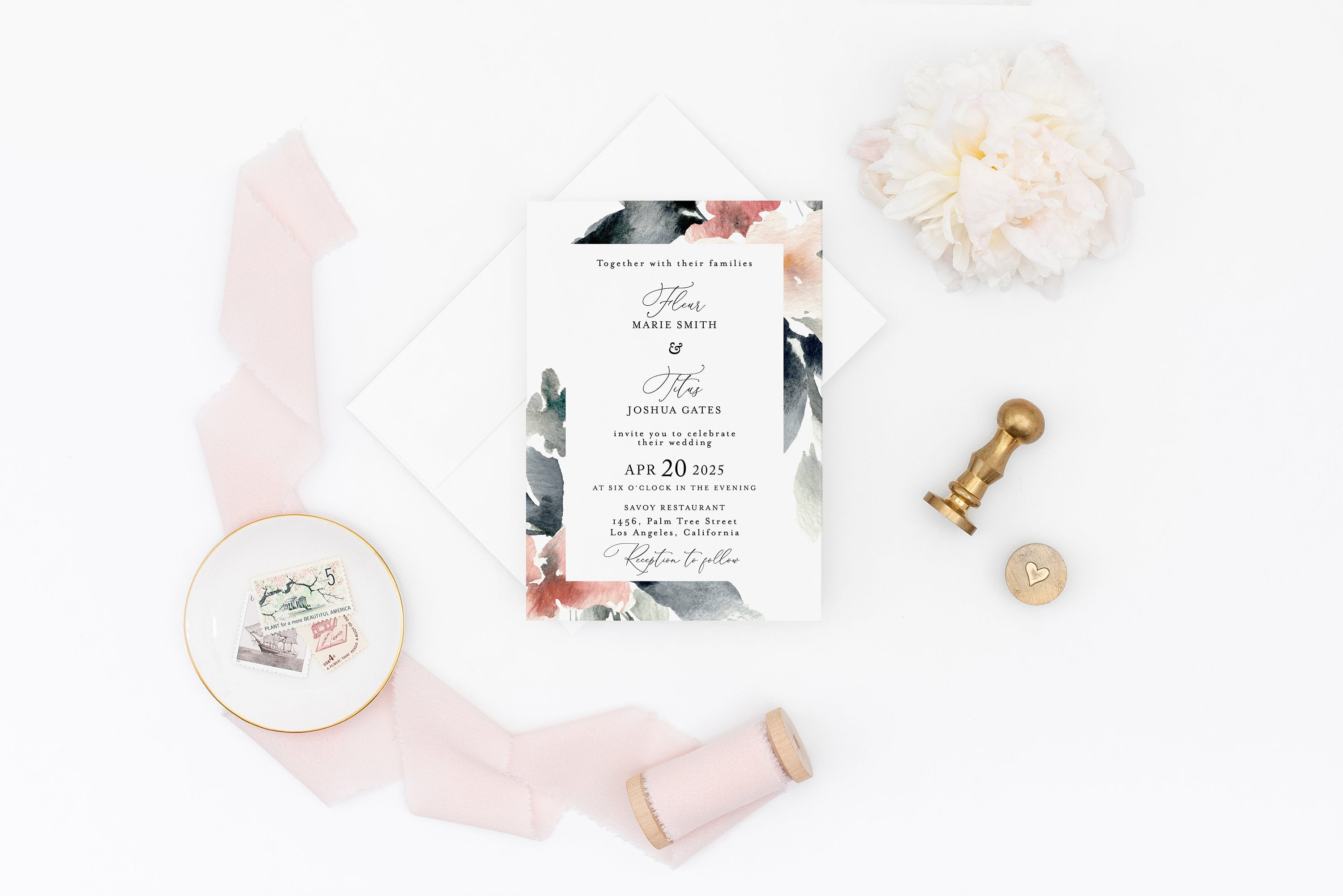 Blush Wedding Invitation Template, Floral Watercolor, Instant Download, Templett, Printable Wedding, Editable -Fleur