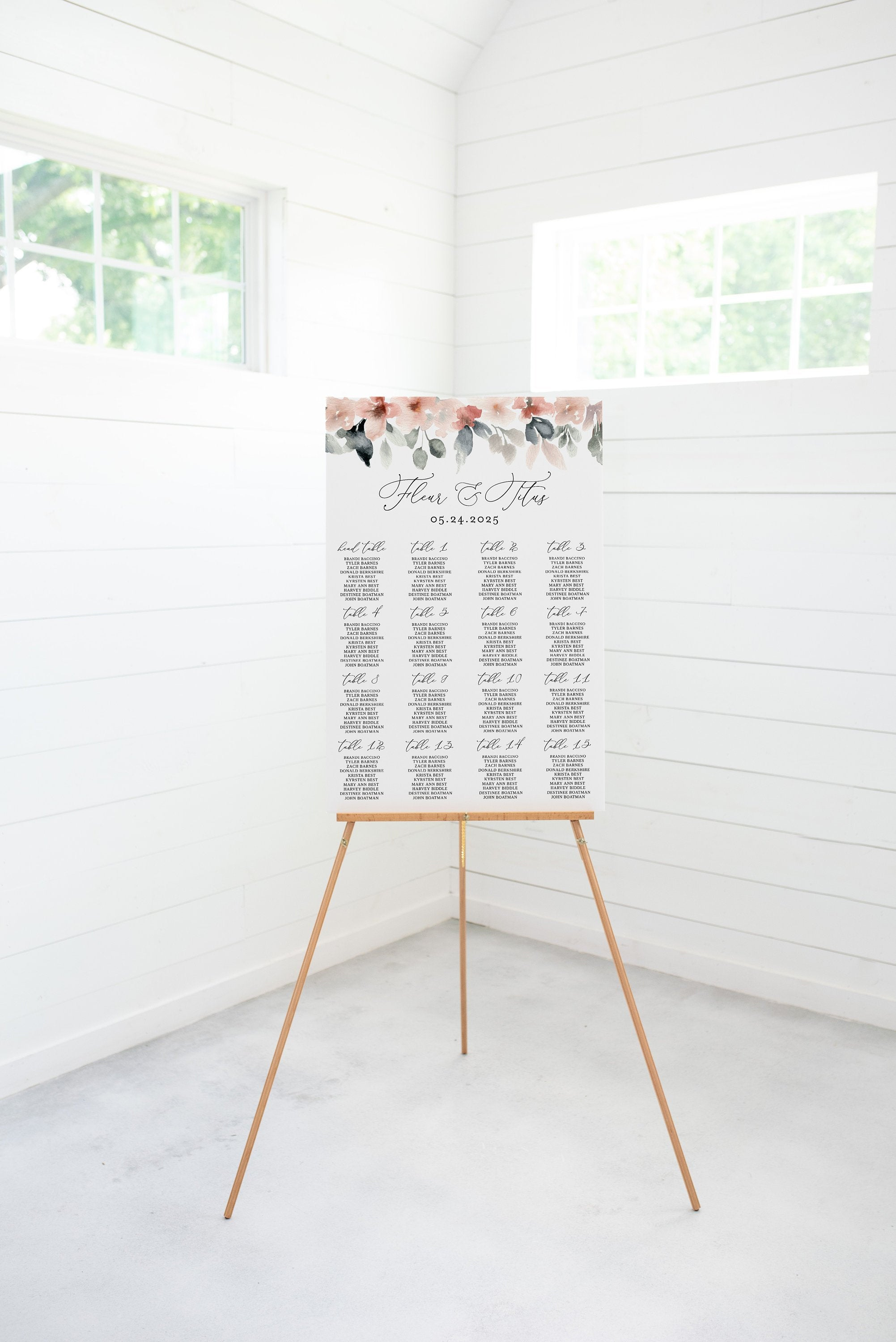 Wedding Seating Chart Template, Printable Seating Sign, Editable Text INSTANT DOWNLOAD - Fleur