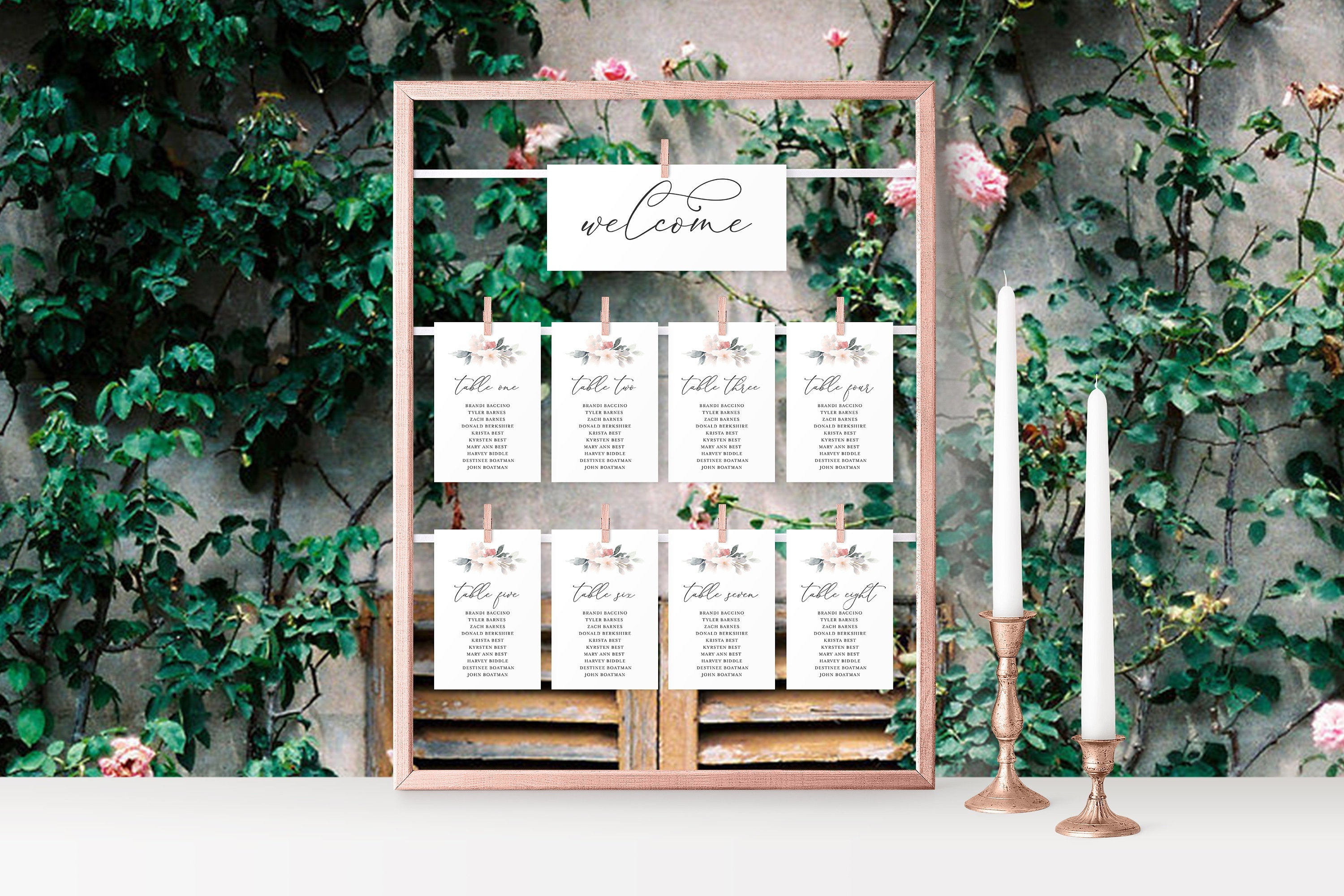 Wedding Seating Chart Template Printable Floral Seating Sign Seating Cards Editable Text INSTANT DOWNLOAD - Fleur