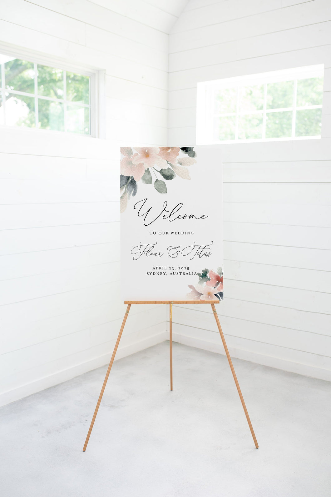 Blush Wedding Printable Welcome Sign Editable Template, Instant Download  - Fleur