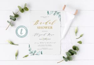 Greenery Bridal Shower Invite Templett, Shower Invitation Template, Printable Invitation, Instant Download, Printable Bridal Shower - Abi