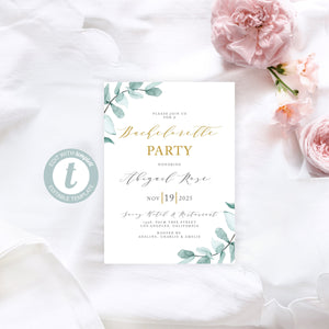 Greenery Bachelorette Party Invite, DIY Editable Instant Download Bachelorette Invites, Invitation Template - Abi
