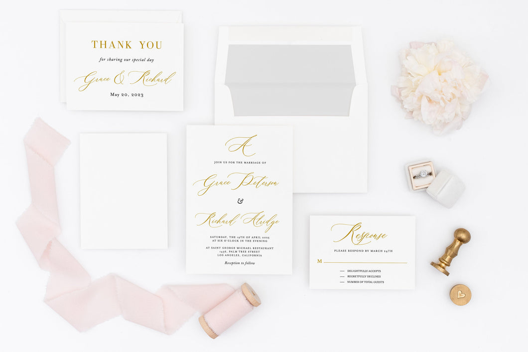 Wedding Invitation Set Printable DIY Instant Download Wedding Invites Editable Template- Grace