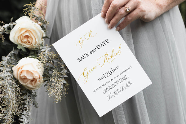 Printable Gold Wedding Save-the-Date Template with photo Engagement Invite 100% editable  - Grace