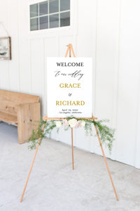 Gold Wedding Printable Welcome Sign, Christmas Editable Template, Instant Download  - Grace