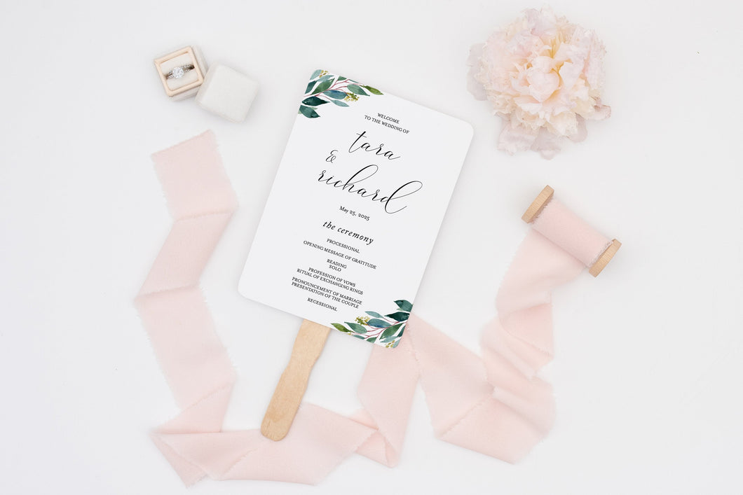 Wedding Program Fan Template Printable Ceremony Programs Editable Template Instant download Greenery - Tara
