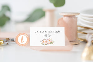 Blush Place Card Template, Templett, Escort Cards, Printable Place Card, Floral Watercolor, Place Cards, Editable Wedding - KATHERINE