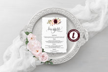Load image into Gallery viewer, Wedding Menu Printable Template, Editable Instant Download, Menu Cards, DIY Dinner Menu Burgundy Floral -KATHERINE