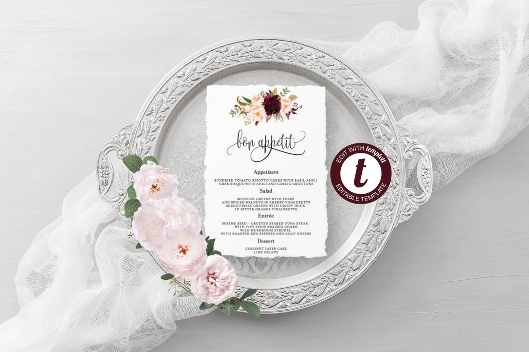 Wedding Menu Printable Template, Editable Instant Download, Menu Cards, DIY Dinner Menu Burgundy Floral -KATHERINE