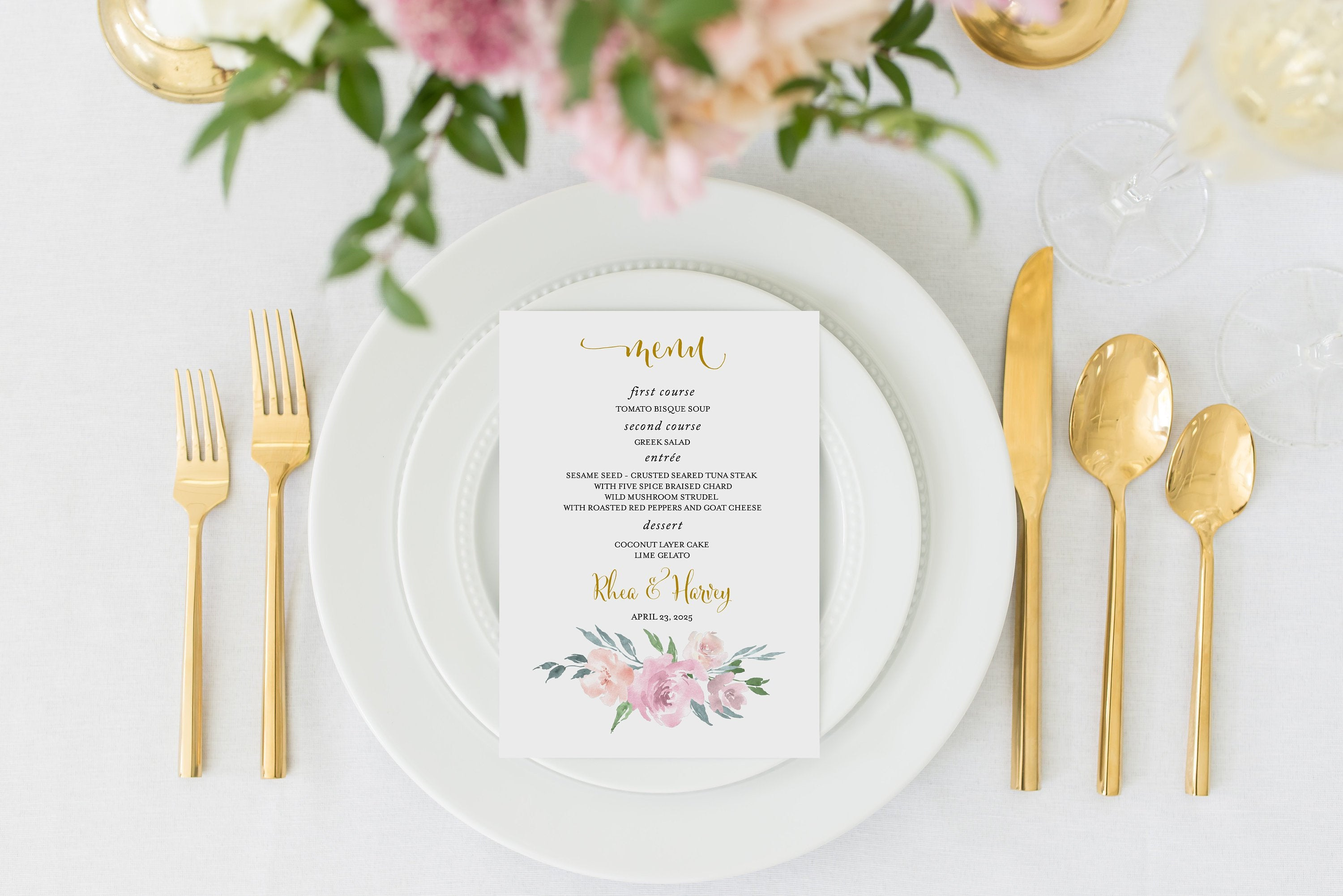 Wedding Menu Printable Wedding Menu Template Rustic Menu Dusty Blue Blush Card Instant Download Editable Templett - Rhea