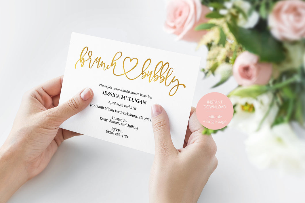 Gold Brunch and Bubbly Bridal Shower Invitation Instant Download Printable Editable Template DIY Bridal Shower Invite - JESSICA